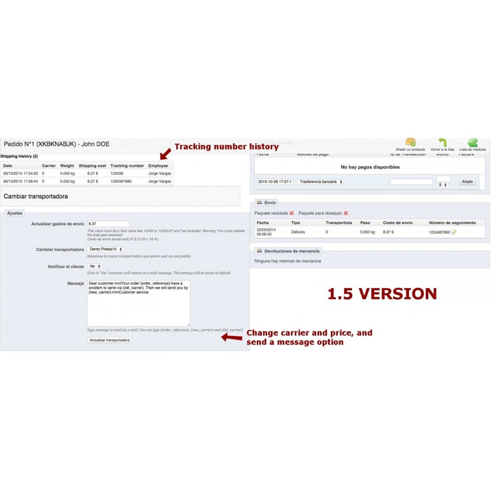 module - Vervoerder - Change carrier and tracking number history - 8