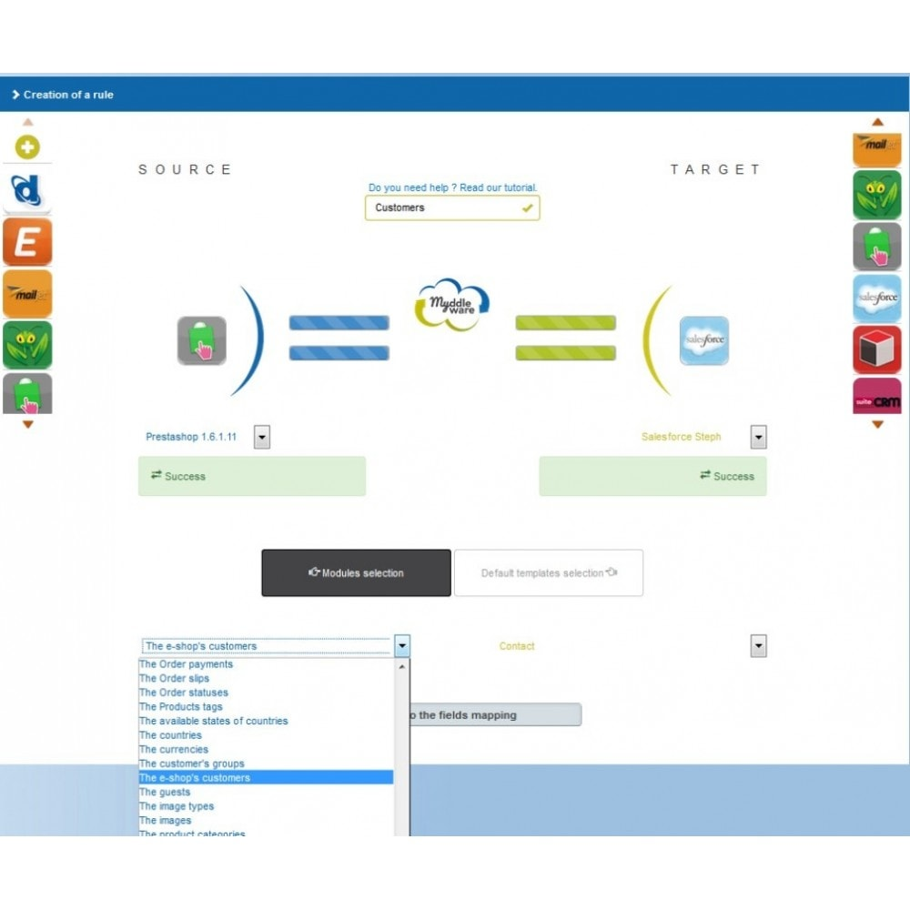 module - Third-party Data Integration (CRM, ERP...) - Myddleware - 2