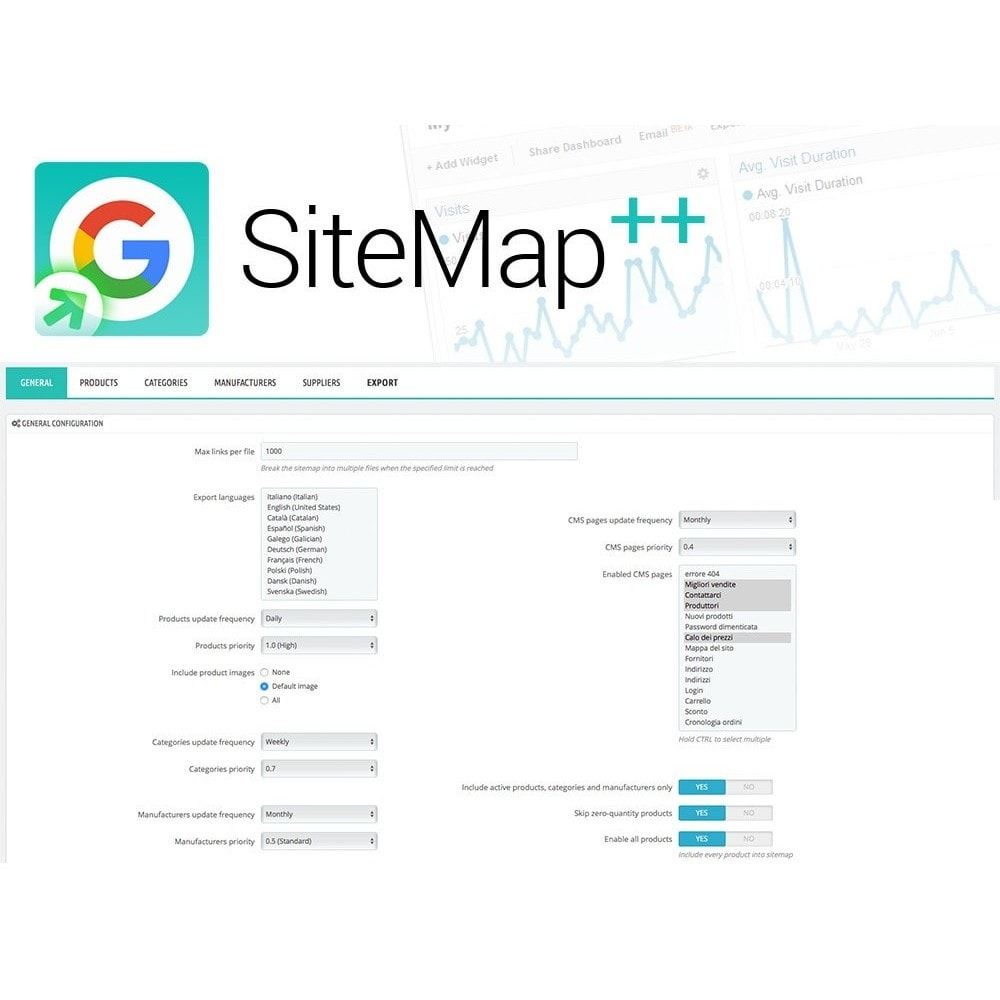 module - SEO (Zoekmachineoptimalisatie - Vermelding) - Sitemap Plus multilingual with cron and filters - 2