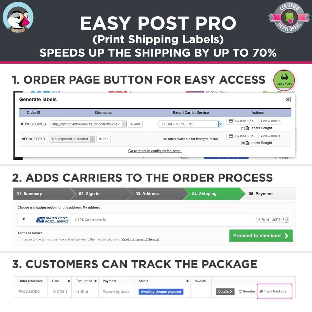 module - Preparation & Shipping - Easy Post Pro (DHL, GLS, DPD, Colissimo, RoyalMail etc) - 2