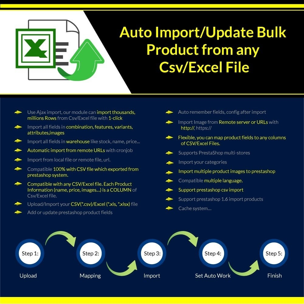 module - Импорт и Экспорт данных - Import/Update Bulk Product from any Csv/Excel File Pro - 1