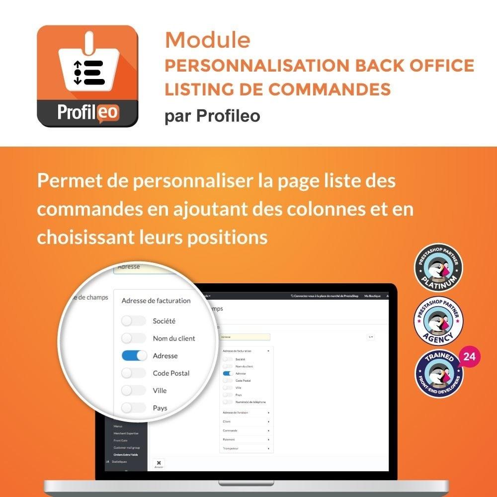 module - Gestion des Commandes - Personnalisation Back Office : Liste de commandes - 1