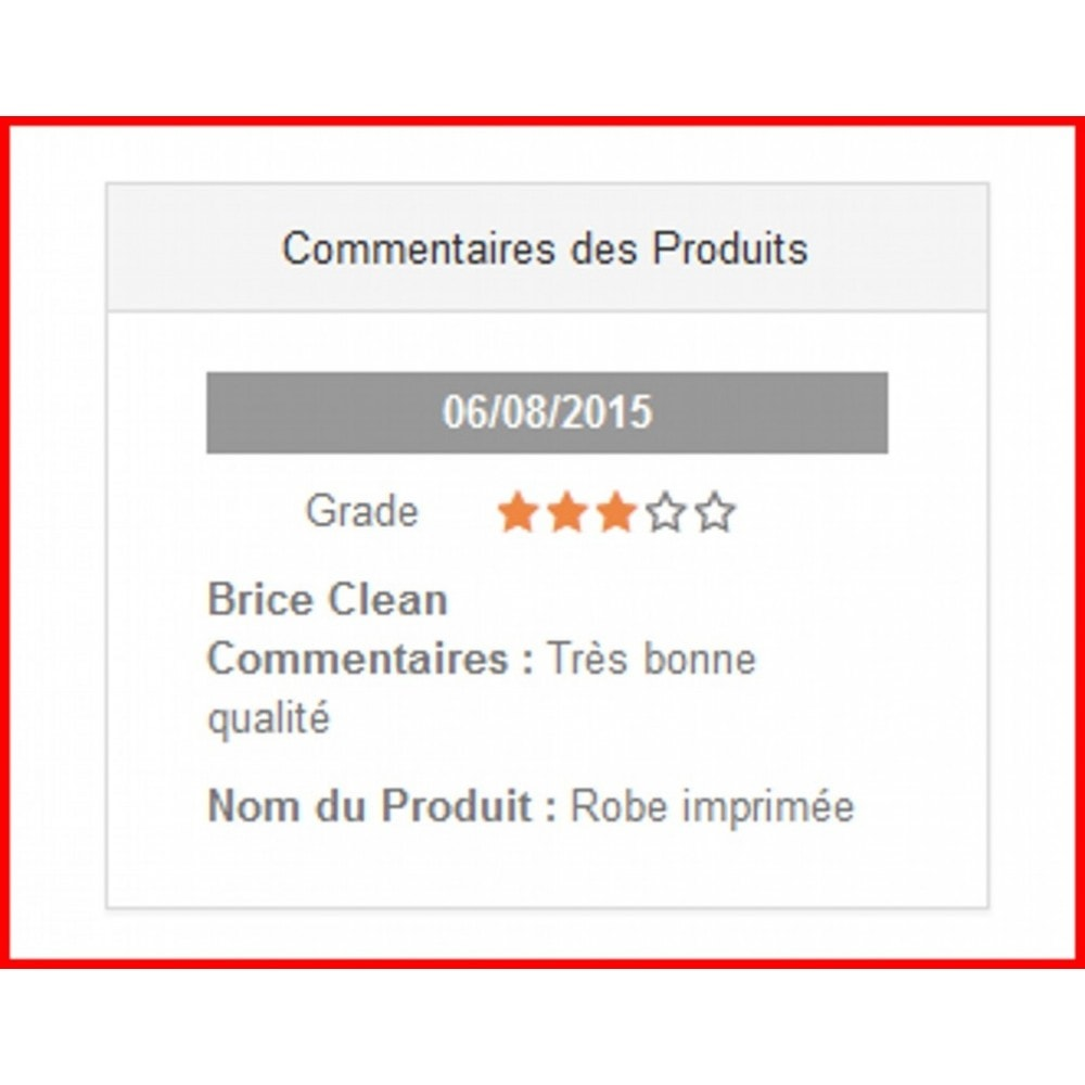 module - Customer Reviews - Comments advanced of products - 4