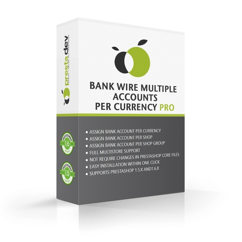 module - Pagamento por Transferência Bancária - Bank wire multiple accounts per currency Pro - 1