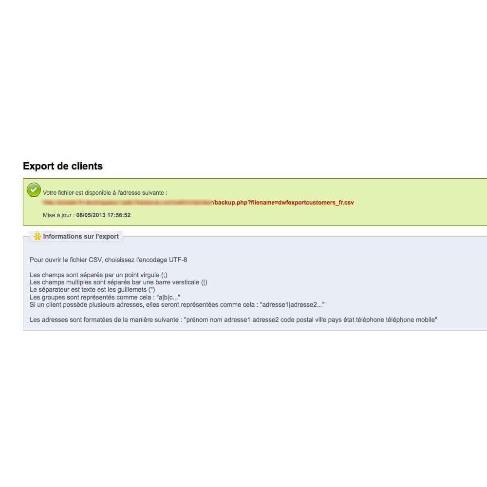 module - Importación y Exportación de datos - Export Customers - 3