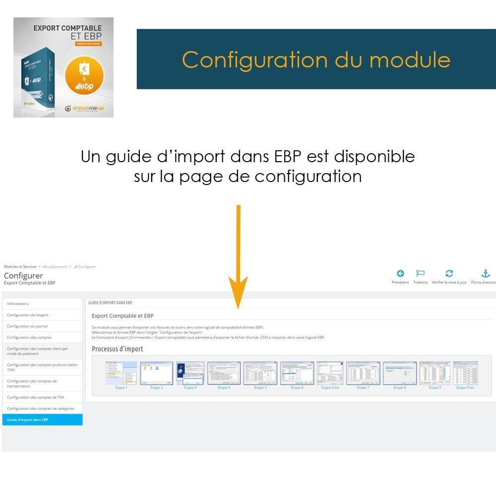 module - Connexion à un logiciel tiers (CRM, ERP...) - DMU Export Comptable et EBP - 14