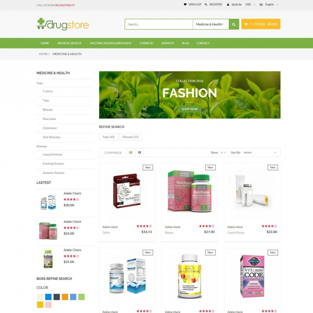 theme - Здоровье и красота - Vitamins, Skin Care, Health - DrugStore Responsive - 3