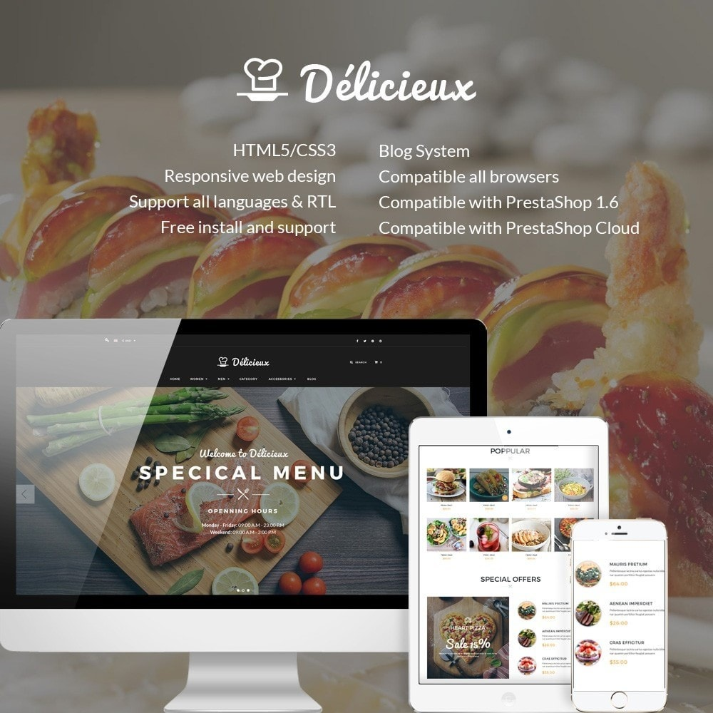 theme - Alimentation & Restauration - Water Delicieux Food Store - 1