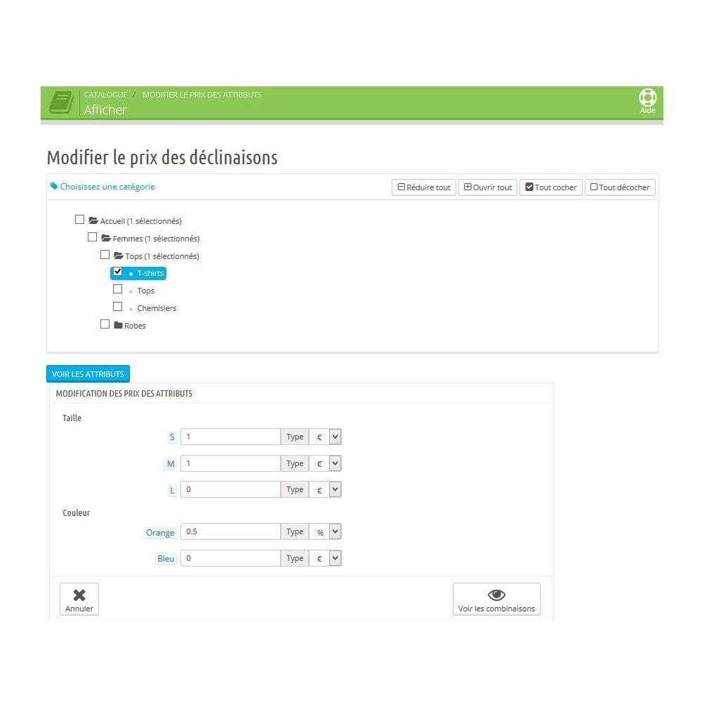 module - Gestion des Prix - Modifier automatiquement les prix des déclinaisons - 3
