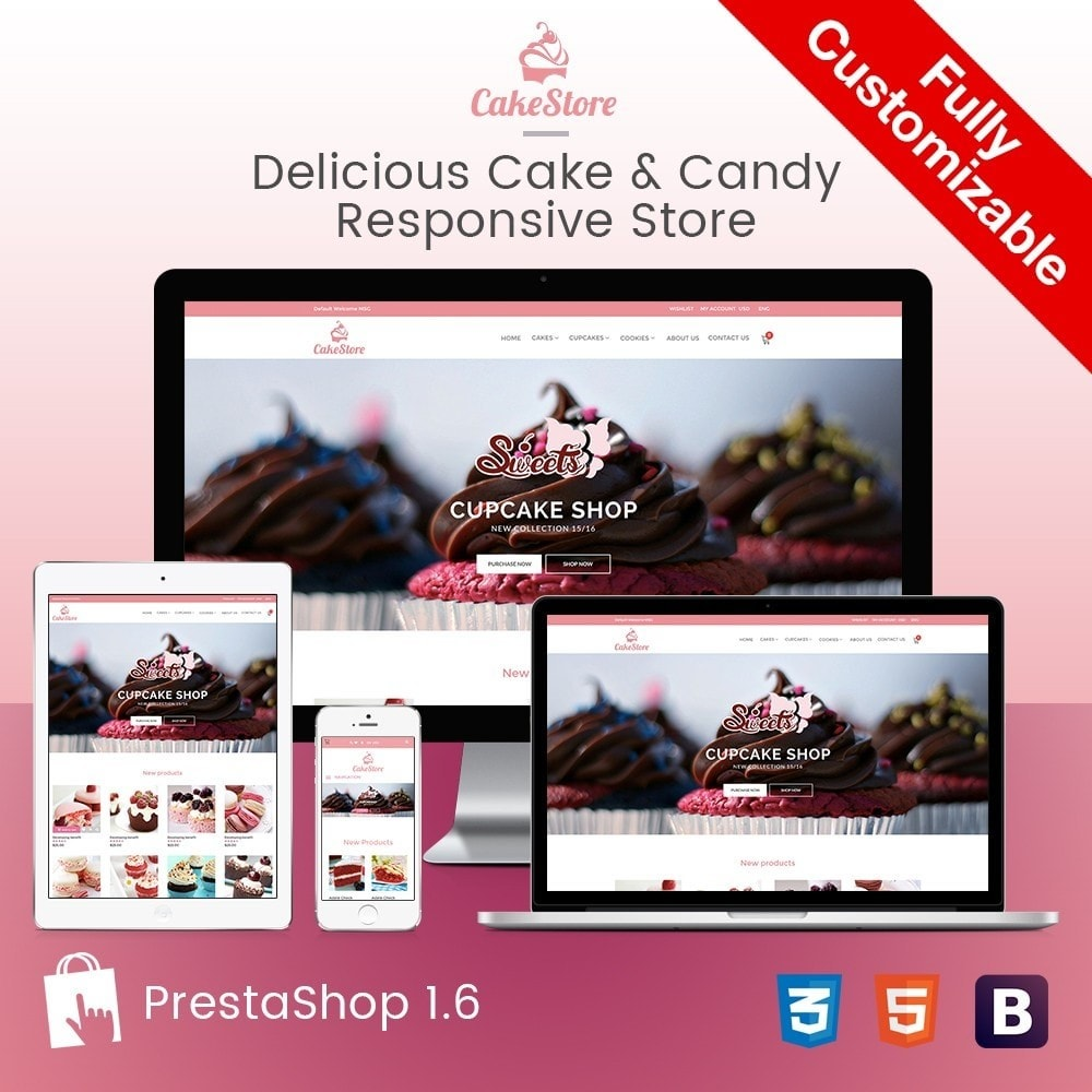 theme - Eten & Restaurant - Bakery, Food & Drinks - CakeStore Responsive - 1