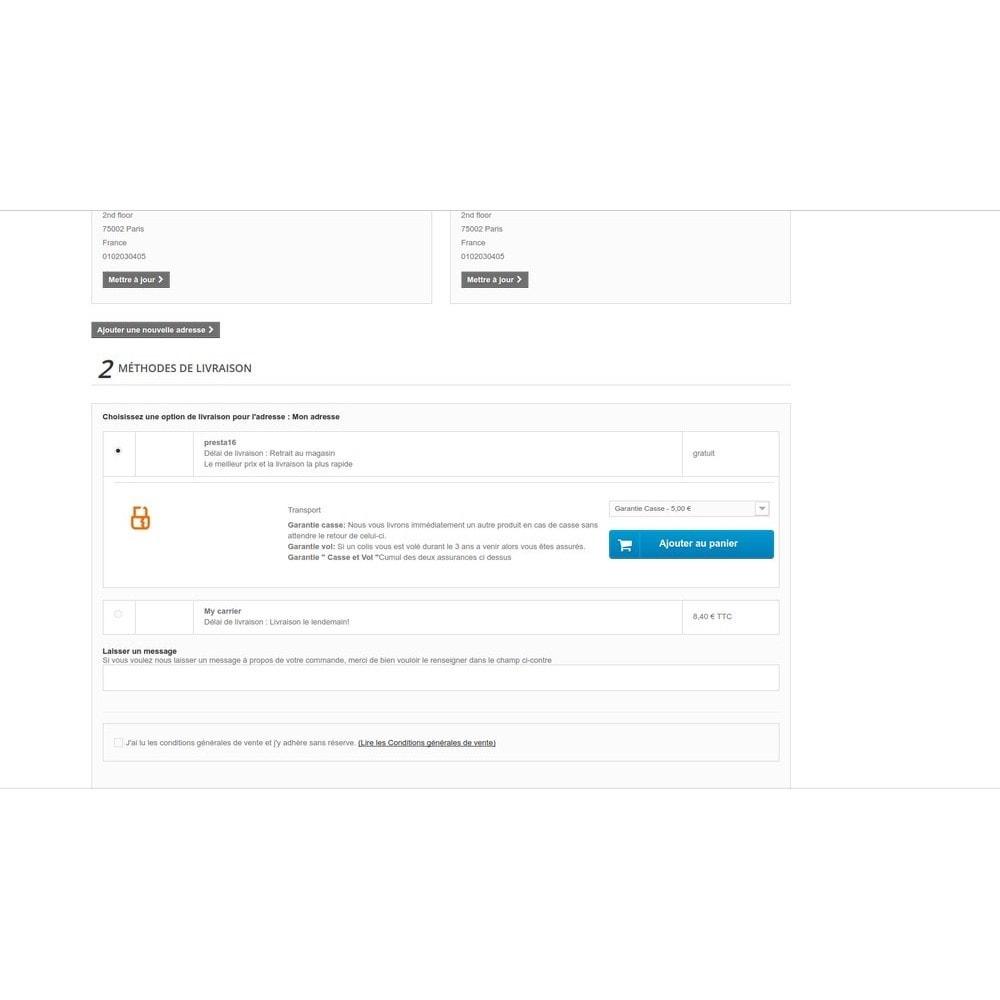 module - Ventes croisées & Packs de produits - Insurance - Assurance Produit et Transporteur - 14