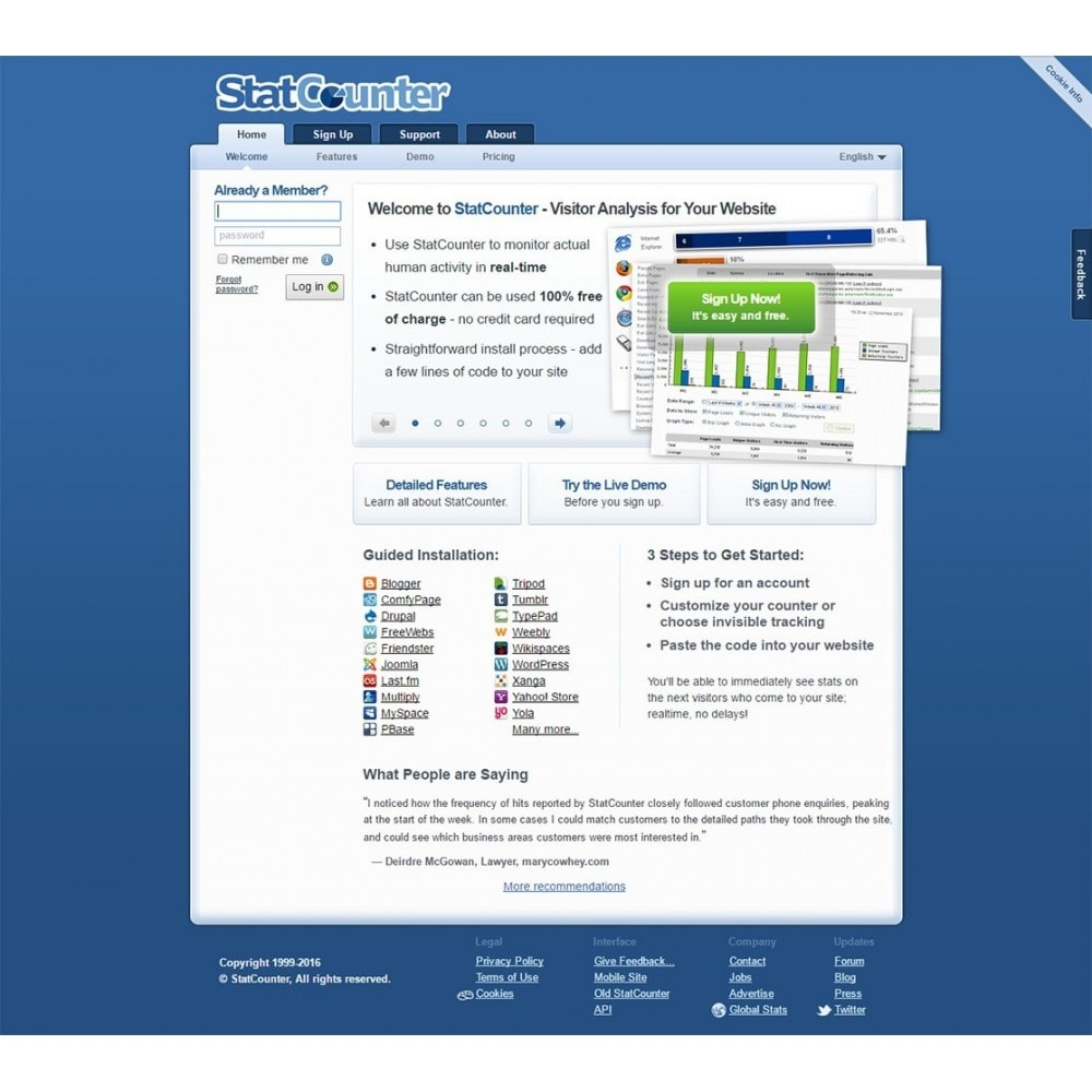 module - Analyses & Statistieken - StatCounter - Web traffic analysis tool - 1