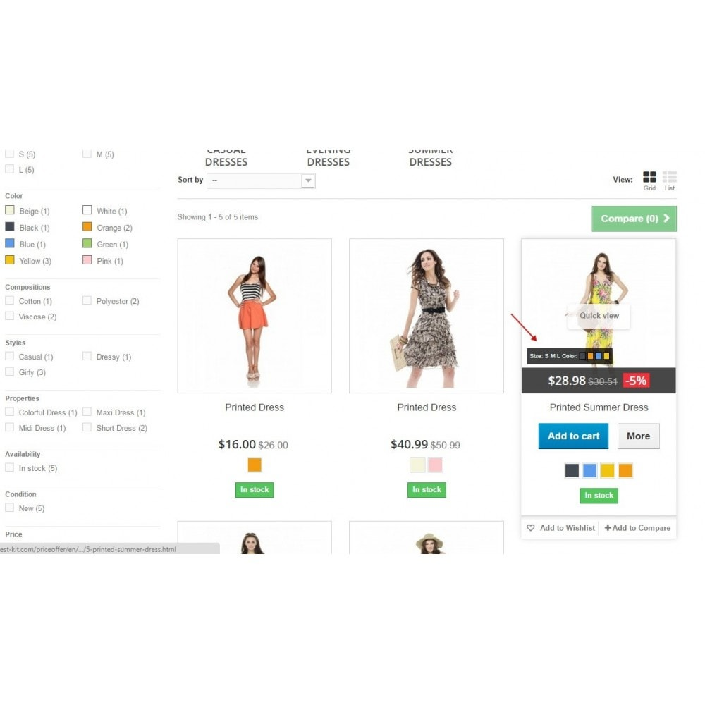 module - Combinations & Product Customization - Show combinations / Hover product list attributes - 1