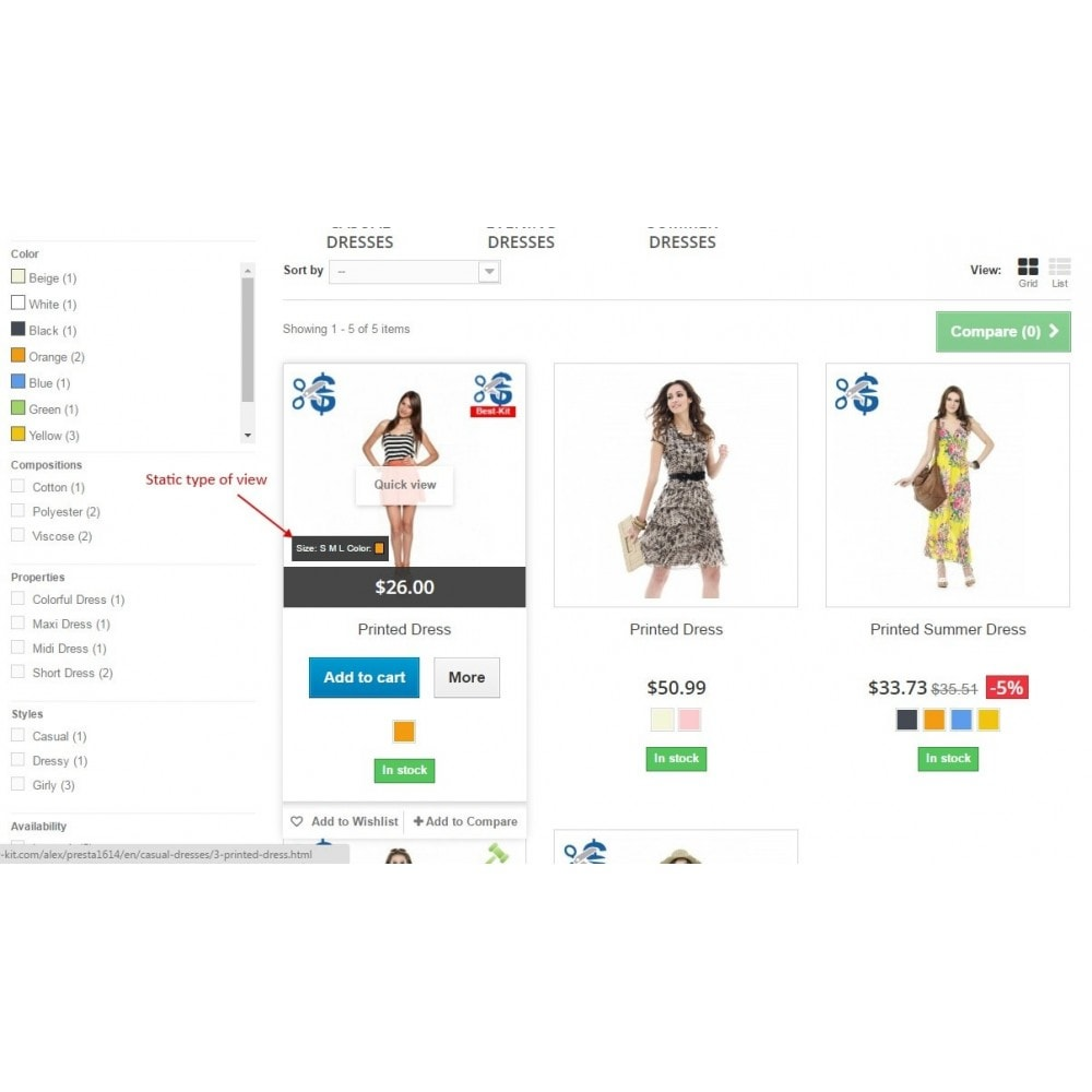 module - Déclinaisons & Personnalisation de produits - Show combinations / Hover product list attributes - 5