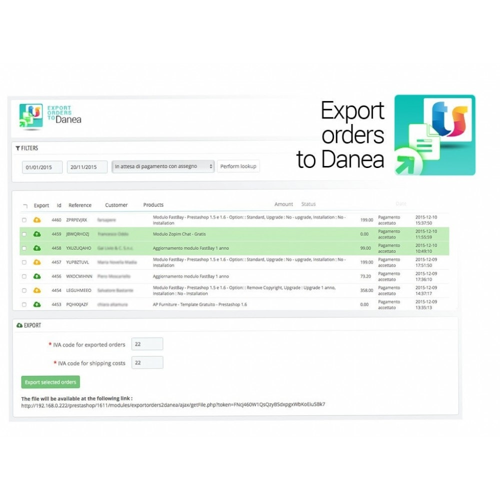 module - Third-party Data Integration (CRM, ERP...) - Export orders and clients to Danea EasyFatt - 2