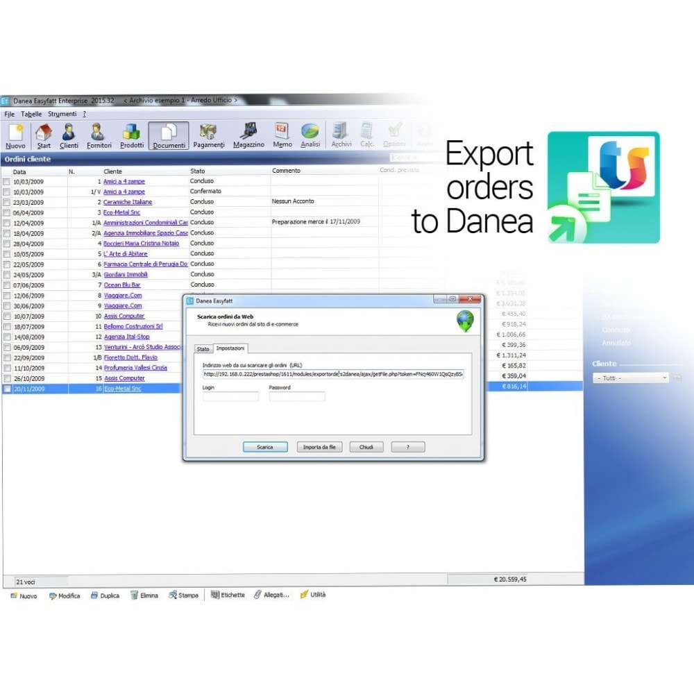 module - Data Integraties (CRM, ERP...) - Export orders to Danea EasyFatt - 3
