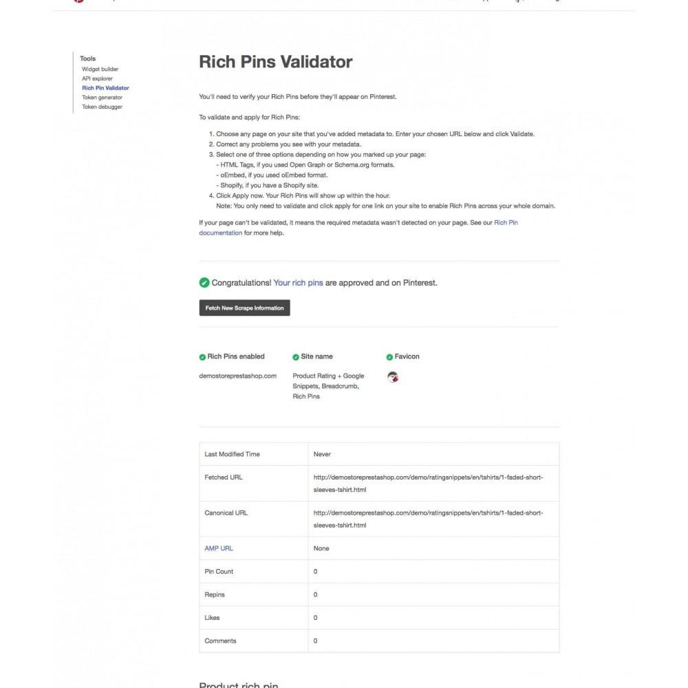 module - SEO (Posicionamiento en buscadores) - Product Rating + Google Snippets, Breadcrumb, Rich Pins - 9