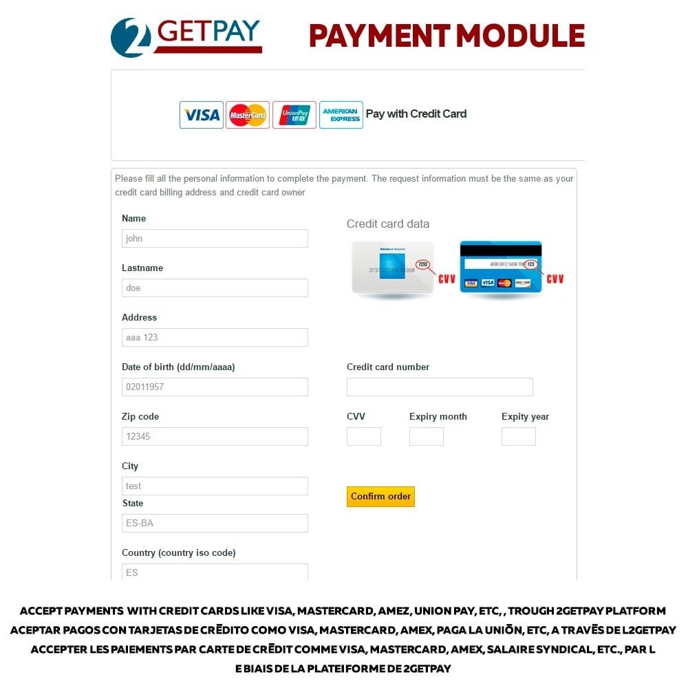 module - Zahlung per Kreditkarte oder Wallet - 2getpay payment gateway & credit card - 1