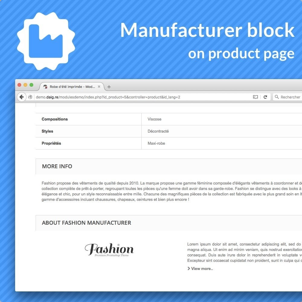 module - Informaciones adicionales y Pestañas - Manufacturer bloc on product pages - 1