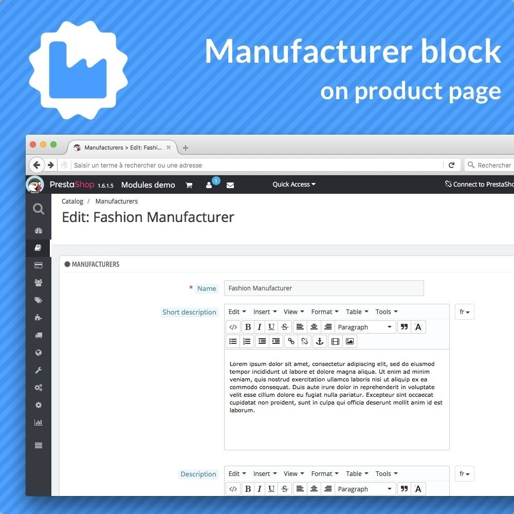 module - Informaciones adicionales y Pestañas - Manufacturer bloc on product pages - 3