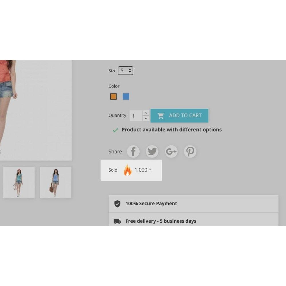 module - Dodatkowe informacje & Zakładka produktu - Product number of sales - 1