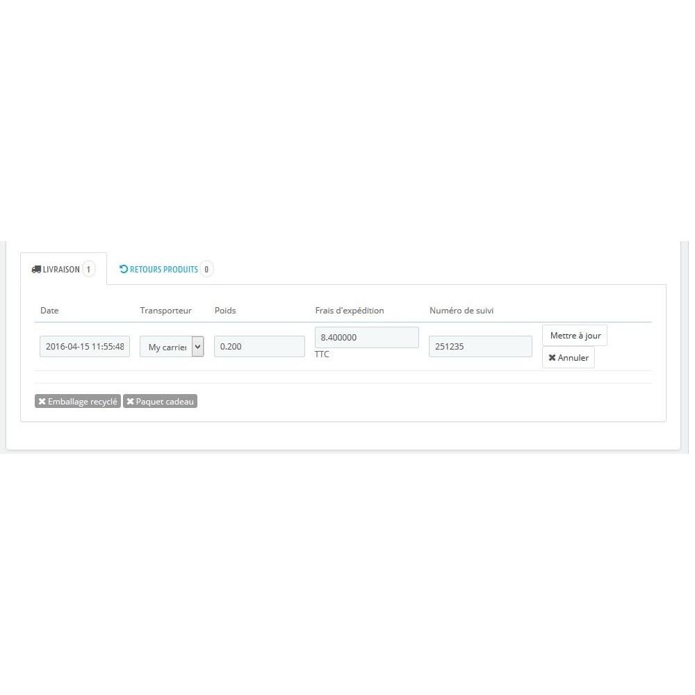 module - Transporteurs - Modify Carrier: Modifier le transporteur d'une commande - 1