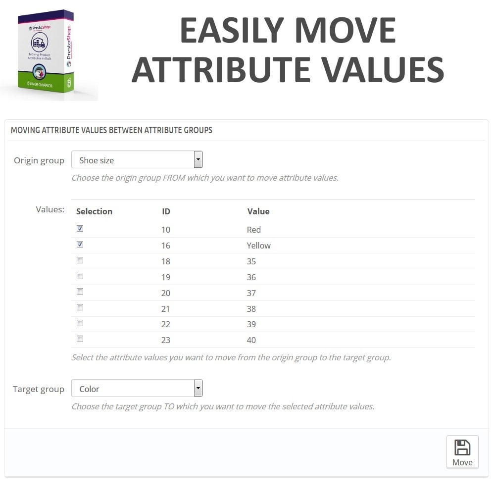module - Quick Eingabe & Massendatenverwaltung - Moving Attribute Values Between Attribute Groups - 2