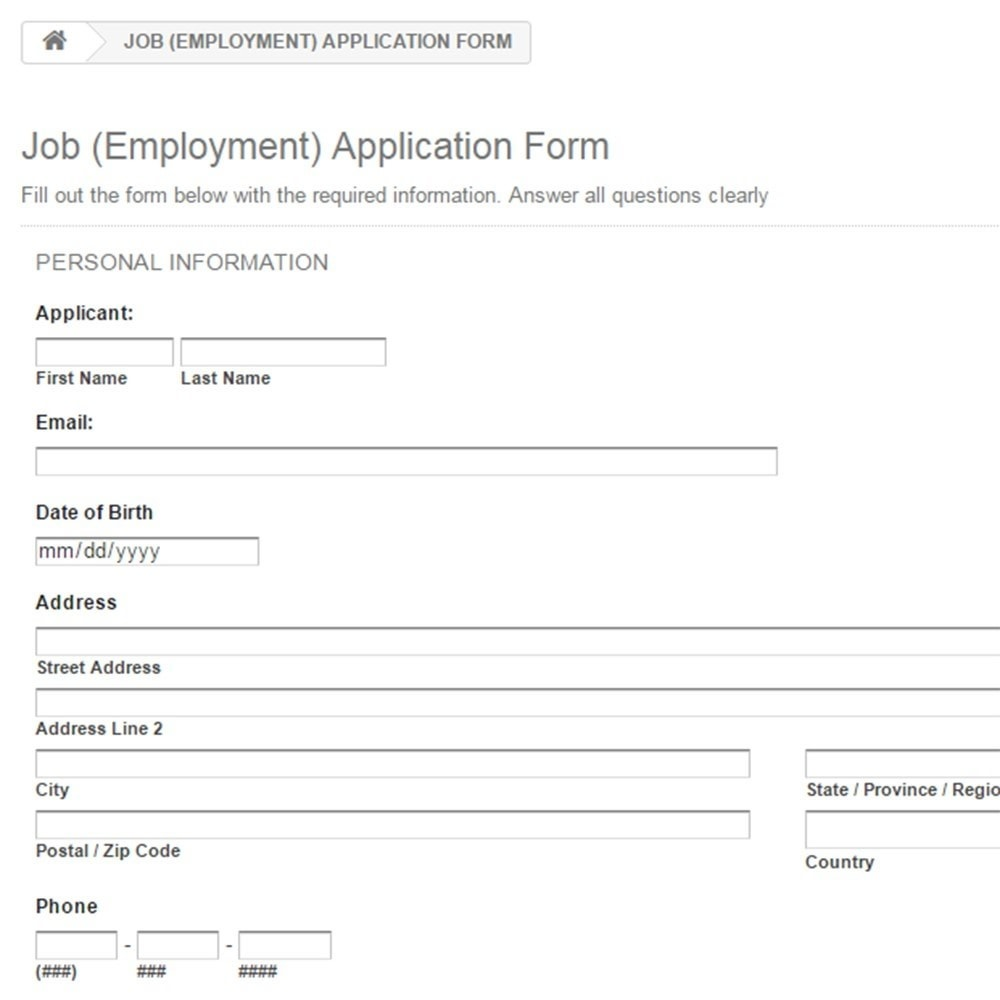 Job employment application form prestashop addons module contact forms surveys job employment application form 2 falaconquin