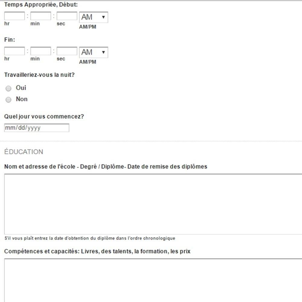 module - Formulaires de Contact & Sondages - Postes et demandes d'emploi - 5
