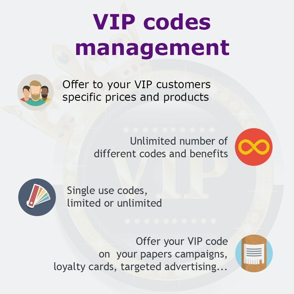 module - Loyaliteitsprogramma - VIP codes management - 1