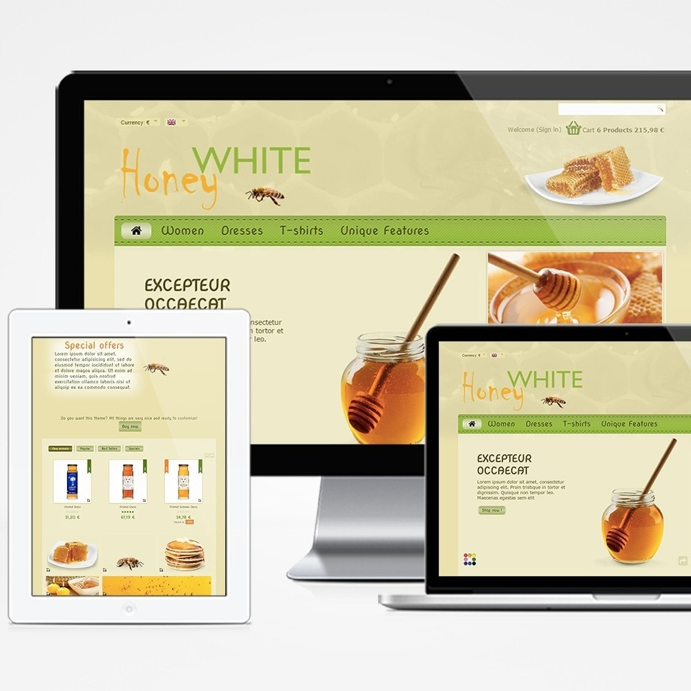 theme - Food & Restaurant - White Honey - 1