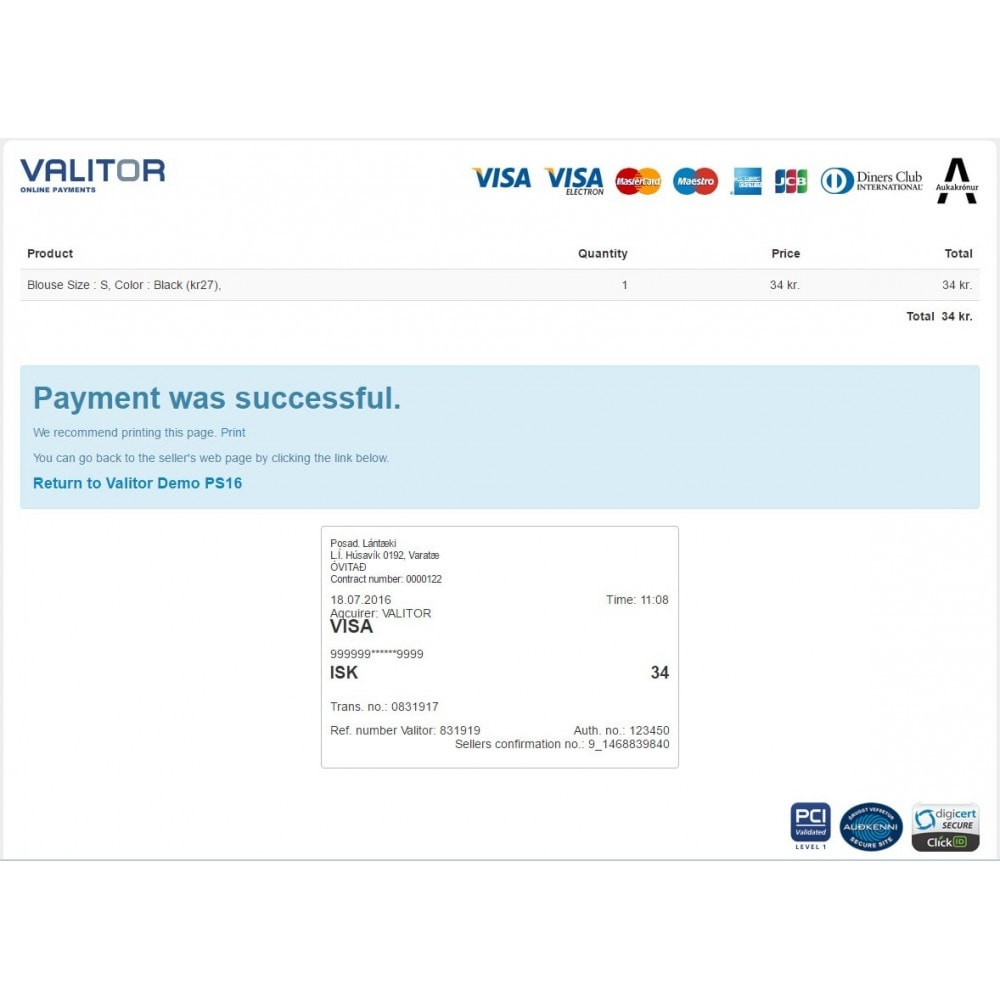 module - Creditcardbetaling of Walletbetaling - Valitor Web Payments - 4