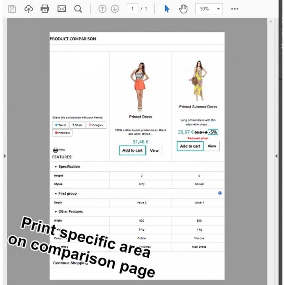 module - Price Comparison - Product Comparison Highlighter/Print Compare Area Only - 2
