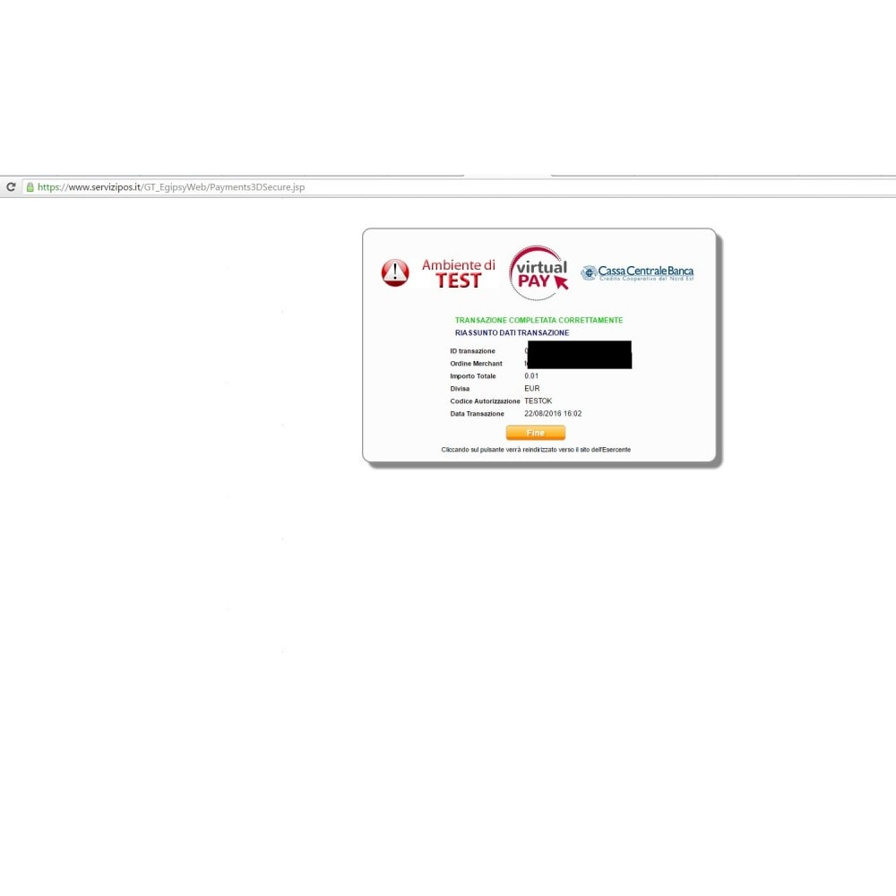 module - Pagamento con Carta di Credito o Wallet - VIRTUALpay Casse Rur.-Cred.Coop-B.Etica - Virtual Pay - 6