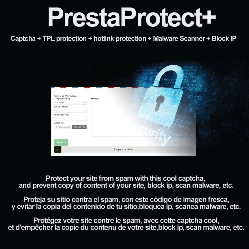 module - Security & Access - PrestaProtect Captcha+ / malware scanner / bot blocker - 1