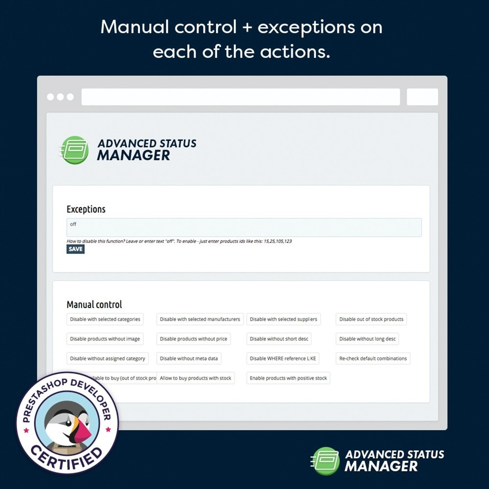 module - Administrative Tools - Advanced status manager - 4