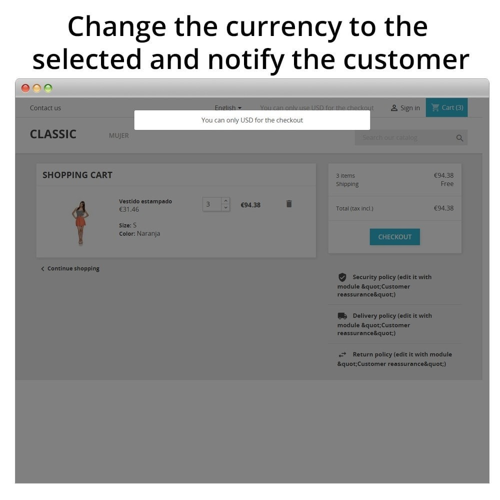 module - Registratie en Proces van bestellingen - Force Currency at Checkout - 2