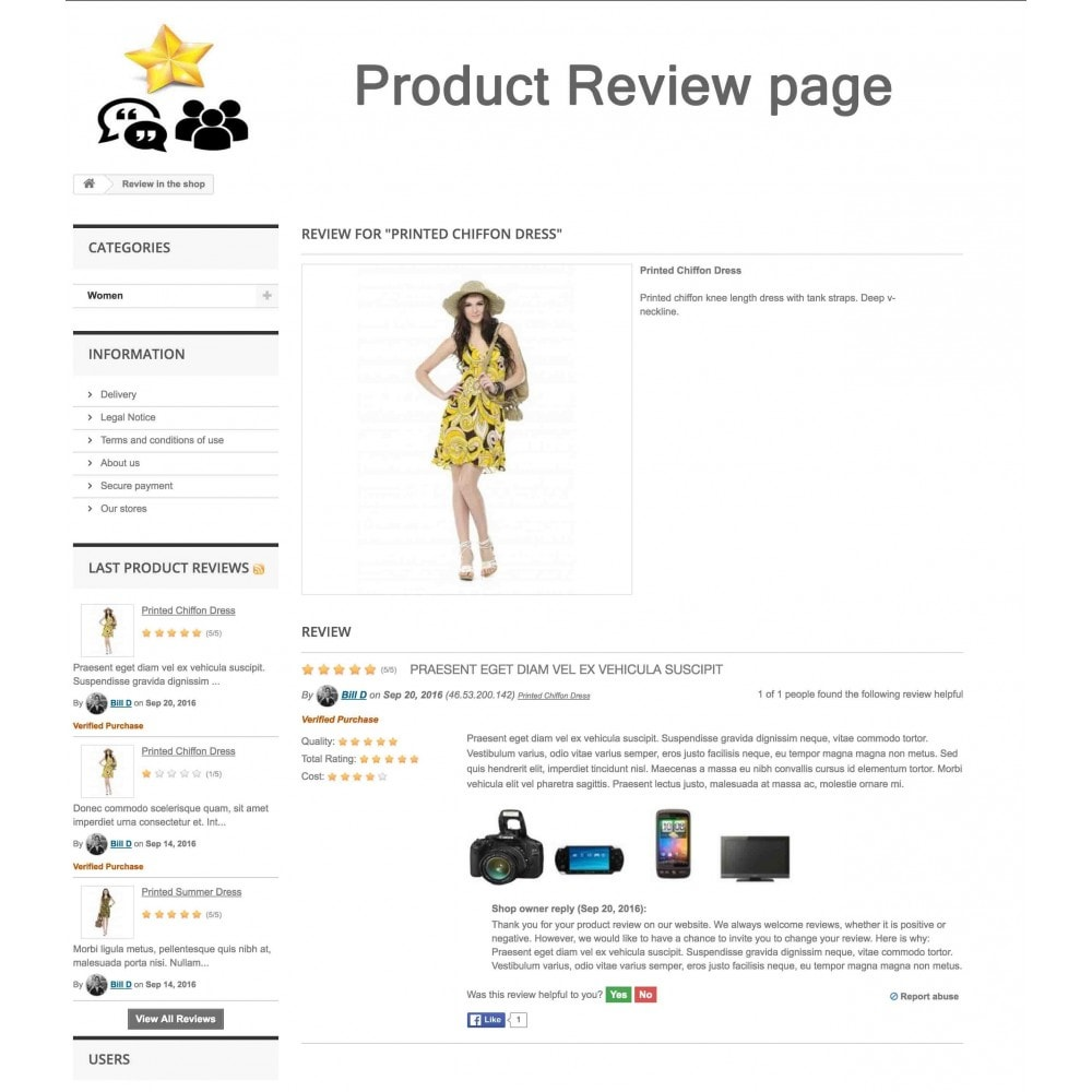 module - Descuentos en redes sociales - Product Reviews + Shop Reviews, Reminder, User Profile - 7