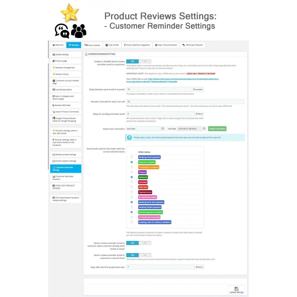 module - Descuentos en redes sociales - Product Reviews + Shop Reviews, Reminder, User Profile - 35