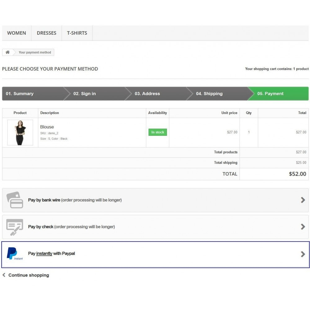 module - Bestelproces - Paypal Instant Checkout - 13