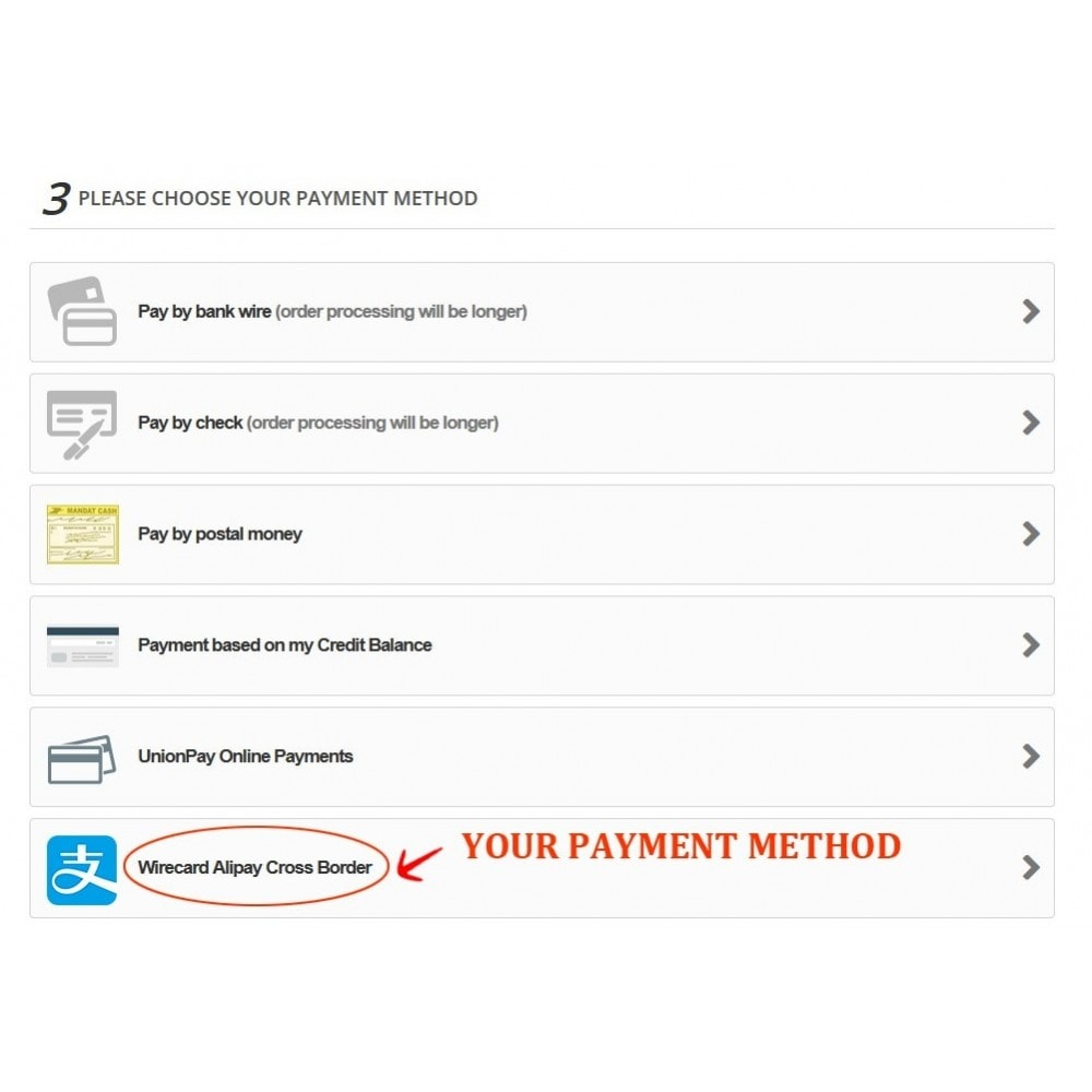 module - Creditcardbetaling of Walletbetaling - Wirecard Ali Pay Cross Border Payment - 3
