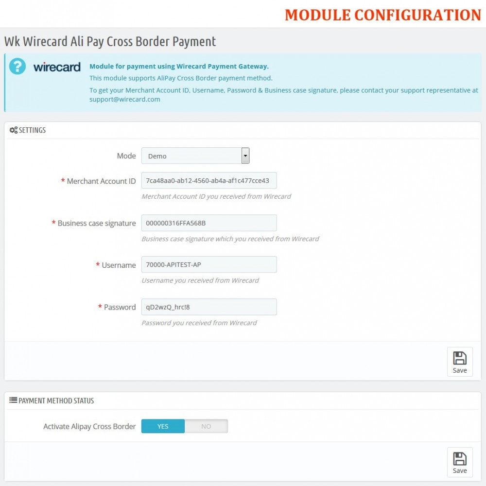 module - Zahlung per Kreditkarte oder Wallet - Wirecard Ali Pay Cross Border Payment - 2