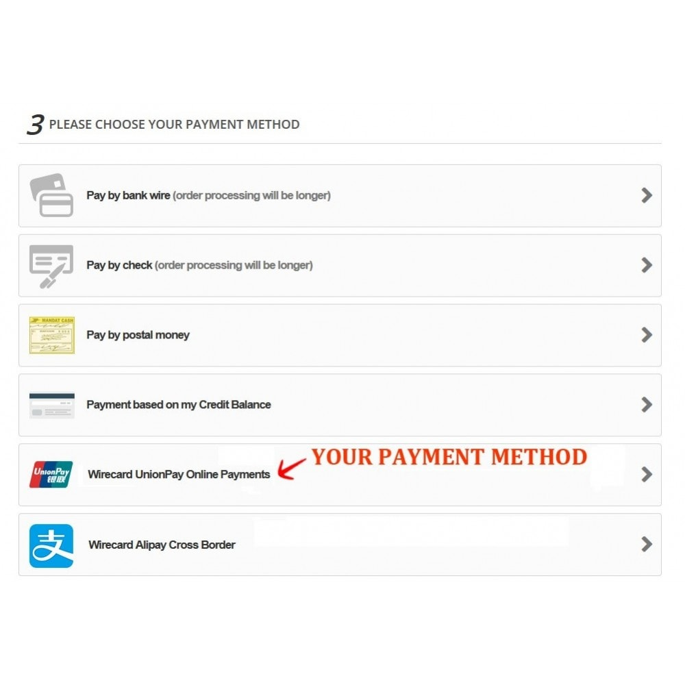 module - Other Payment Methods - Wirecard UnionPay Online Payments - 3