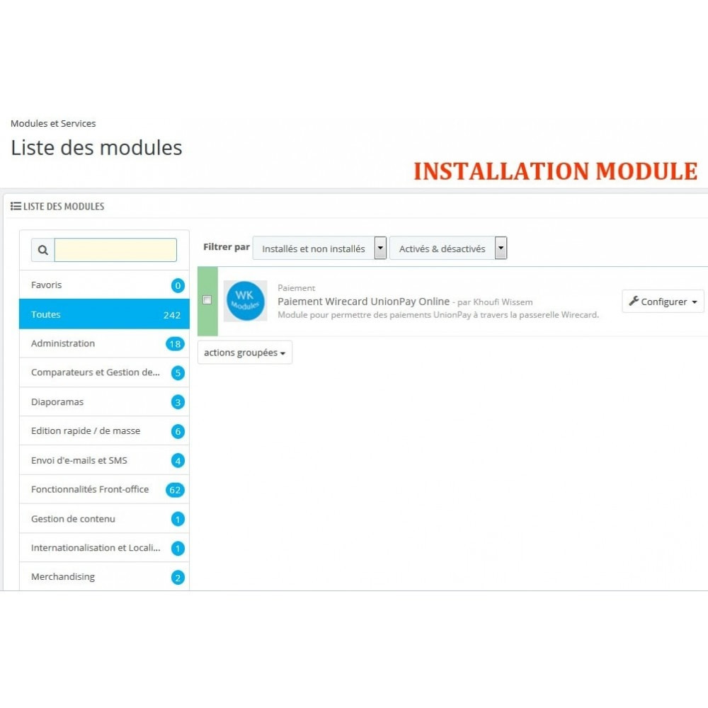 module - Autres moyens de paiement - Paiement Wirecard UnionPay Online - 1