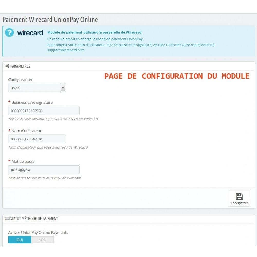 module - Autres moyens de paiement - Paiement Wirecard UnionPay Online - 2