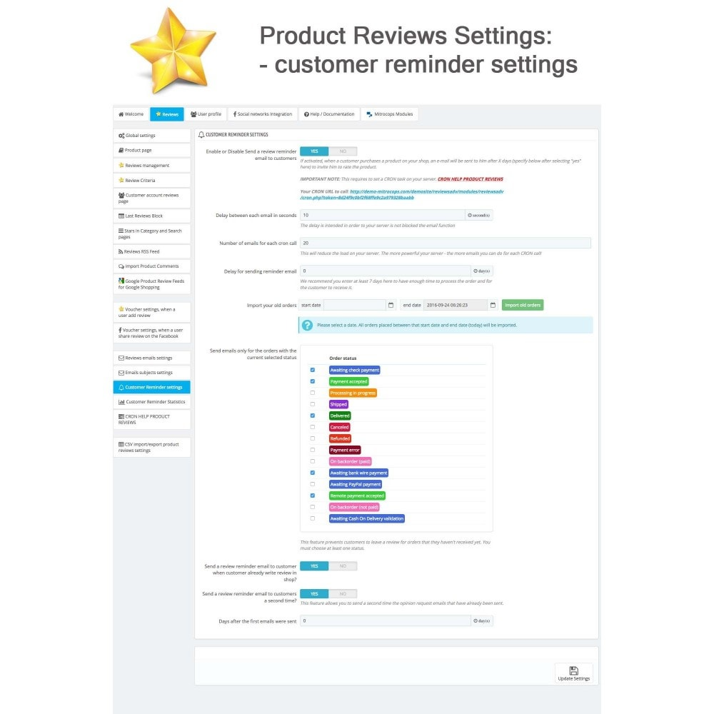 module - Opinie klientów - Product Reviews Advanced PRO + Reminder + User Profile - 30