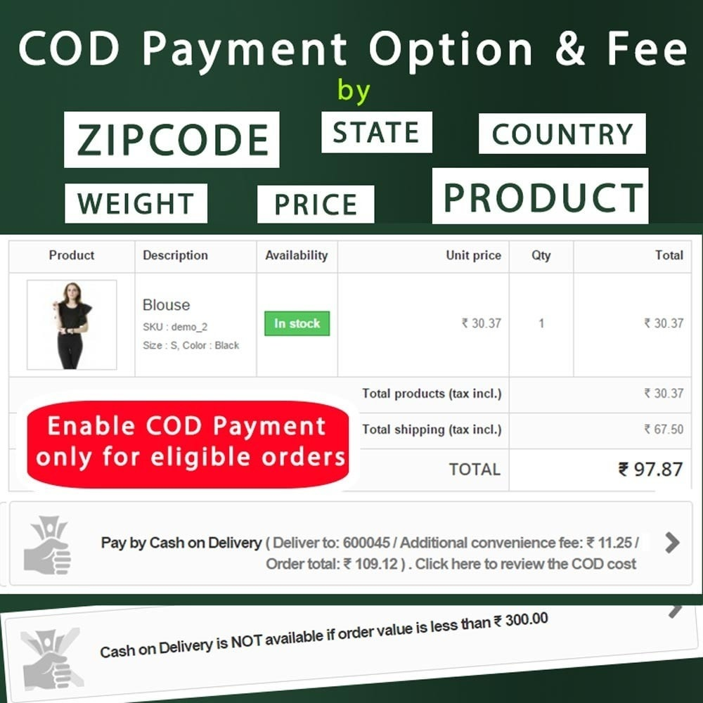 module - Оплата при доставке - Cash on Delivery COD & Shipping Fee by Zipcode, Product - 2