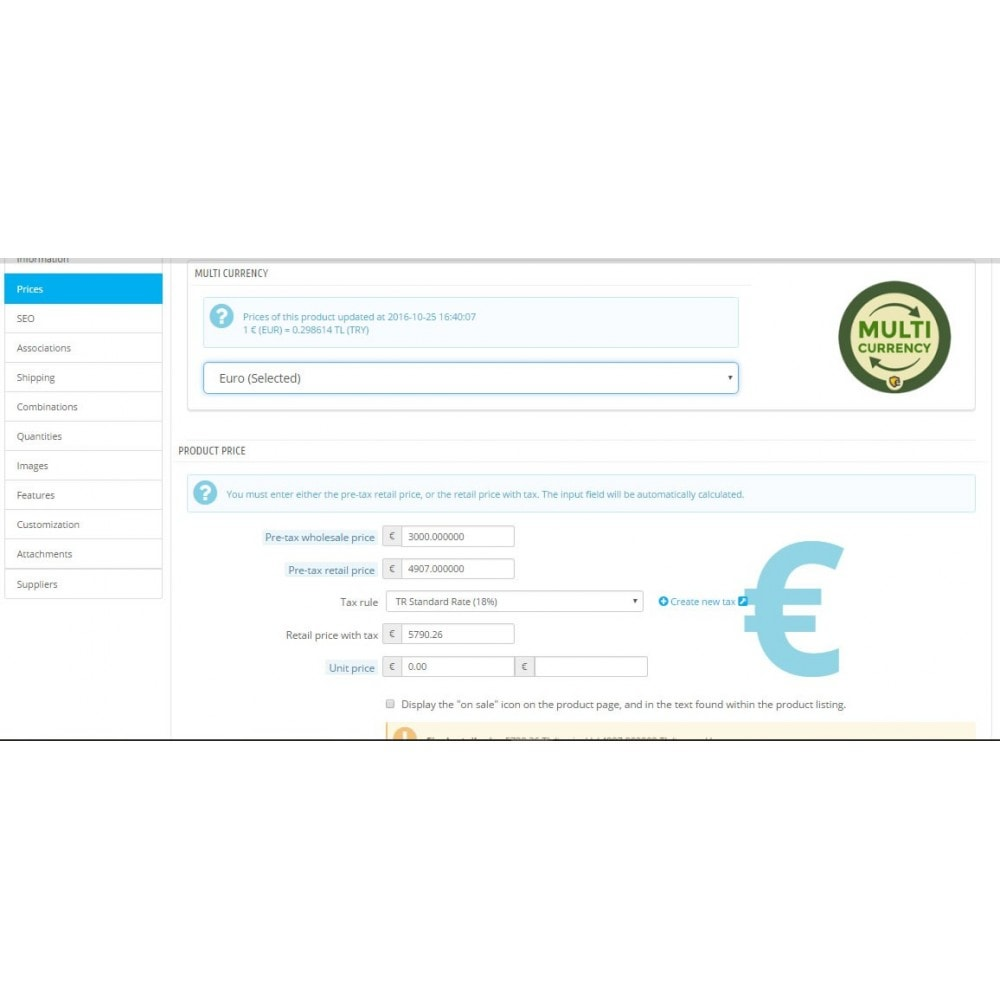 module - Gestion des Prix - Multi Currency Price Saver and Product Price Updater - 2