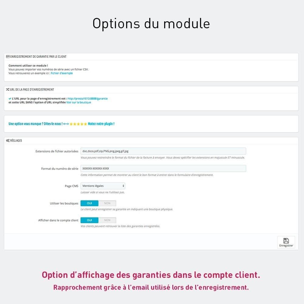 module - Inscription & Processus de commande - Enregistrement de garantie produit par le client - 2