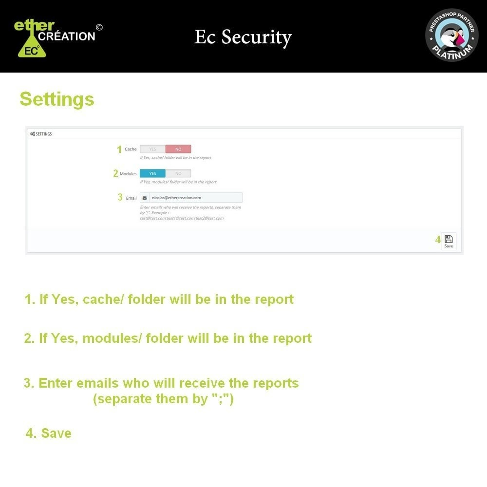 module - Sicherheit & Brechtigungen - Ec Security, Report your changed shop files - 3